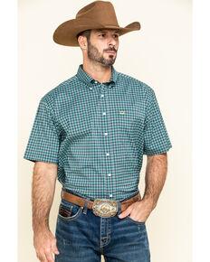 Cinch Men's Arena Flex Navy Small Plaid Short Sleeve Western Shirt , Navy, hi-res