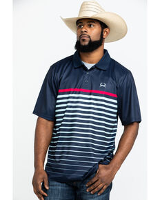Cinch Men's Navy Striped Logo Short Sleeve Polo Shirt , Navy, hi-res