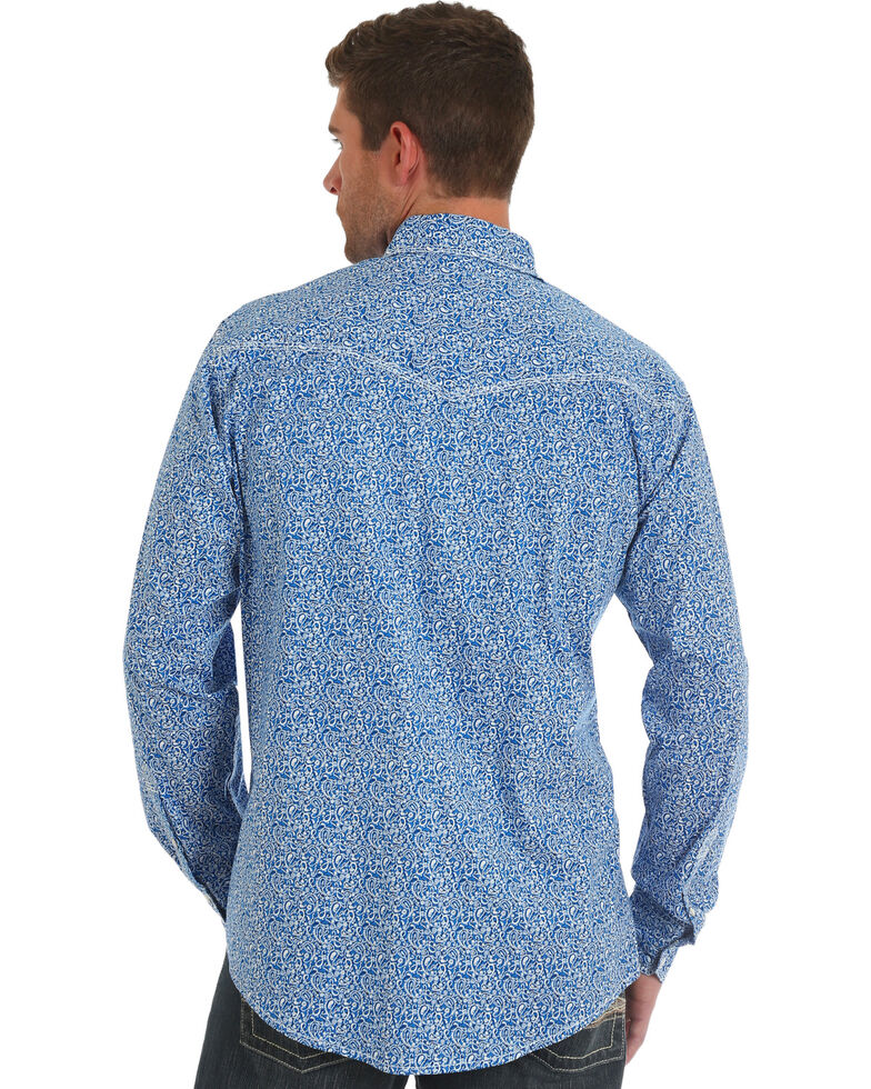 Wrangler 20X Men's Blue Paisley Advanced Comfort Long Sleeve Western Shirt , Blue, hi-res