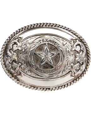 "AndWest ""Texas Ranger"" Silver Plate Belt Buckle , Silver, hi-res"