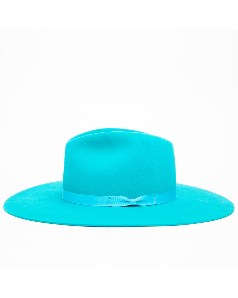 Rodeo King Women's Turquoise 7X Tracker Pinch Front Fur Felt Hat , Turquoise, hi-res