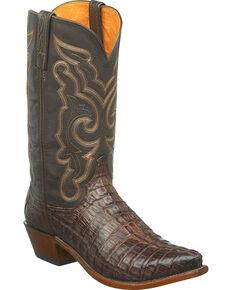 Lucchese Handmade Men's Brown Hornback Caiman Leather Cowboy Boots - Snip Toe, Dark Brown, hi-res