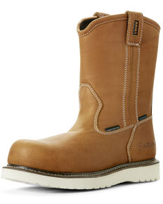 Ariat Men's Rebar Wedge Waterproof Work Boots - Composite Toe, Tan, hi-res