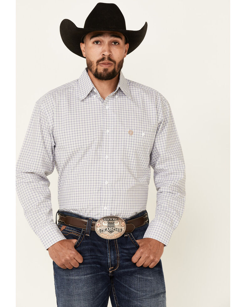 George Strait By Wrangler Men's Navy Check Plaid Long Sleeve Button-Down Western Shirt - Tall, Navy, hi-res