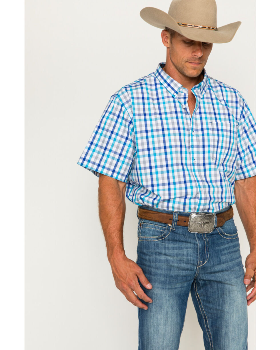 Cody James® Core Plaid Button Down Short Sleeve Shirt, Blue, hi-res