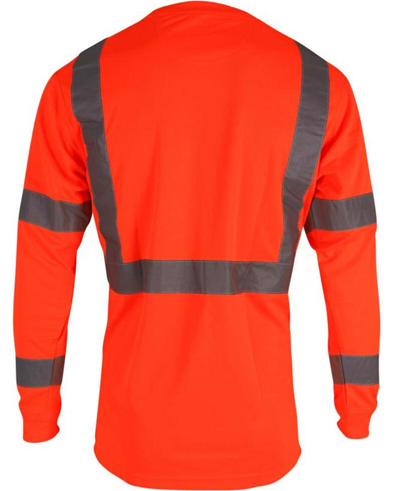 Wolverine Men's High Visibility Reflective Long Sleeve Polyester T-shirt, Orange, hi-res