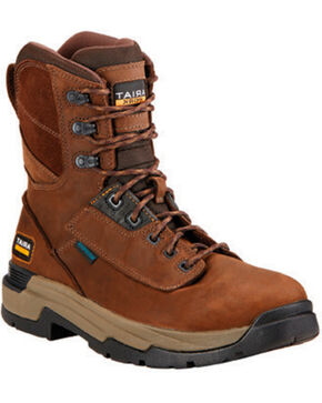 "Ariat Mastergrip Waterproof Insulated 8"" Lace-Up Work Boots - Round Toe , Brown, hi-res"
