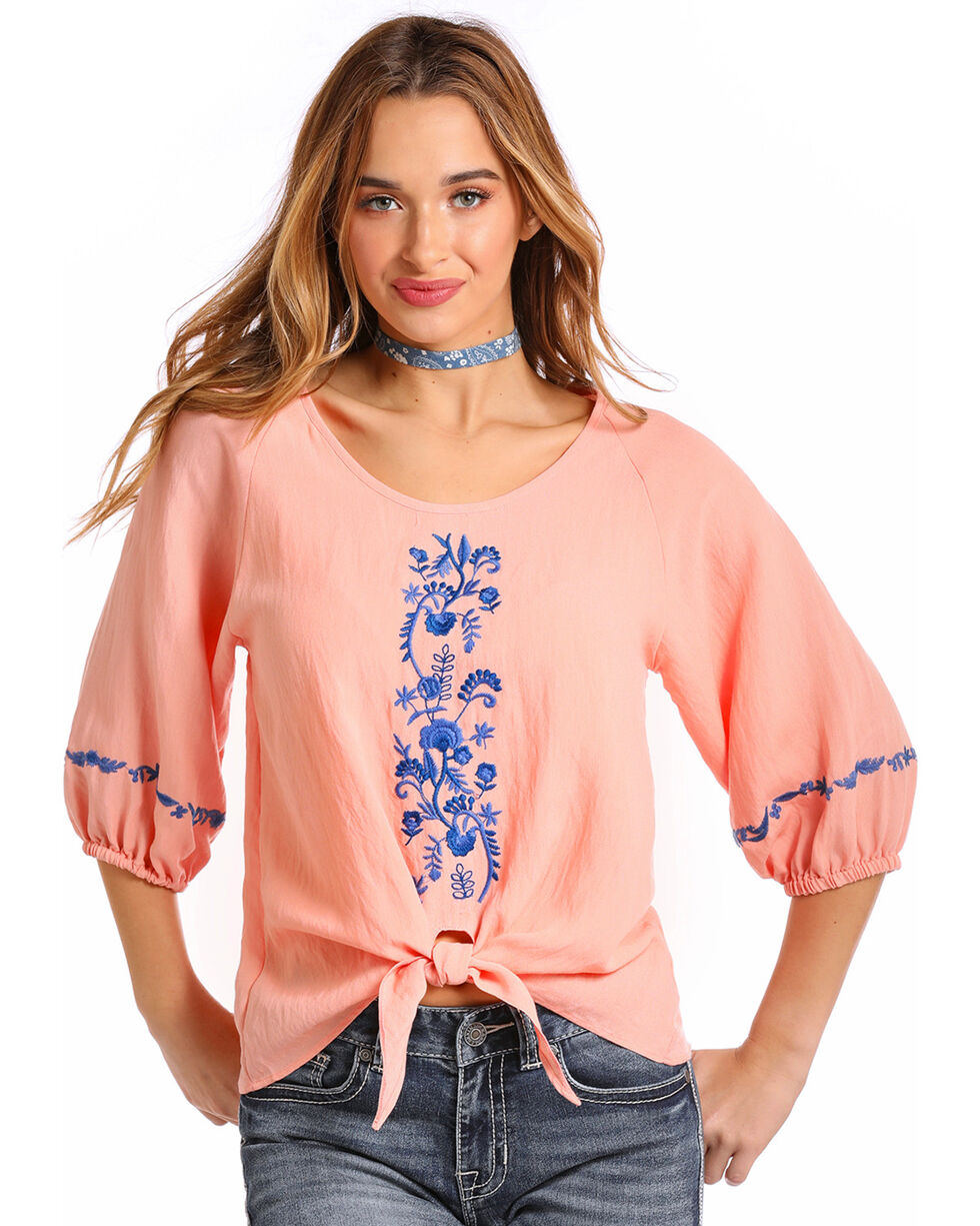 Panhandle Women's Embroidered Tie Front Top, Peach, hi-res