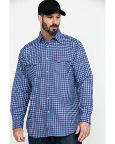 Ariat Men's Derrickman FR Classic Plaid Snap Front Work Shirt - Tall , Blue, hi-res