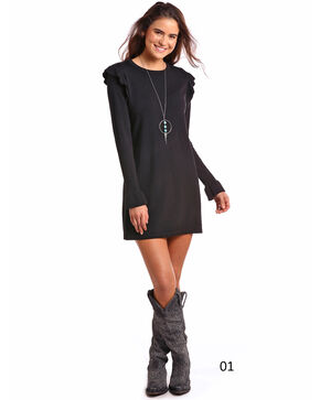 Panhandle Women's Long Sleeve Sweater Dress , Black, hi-res