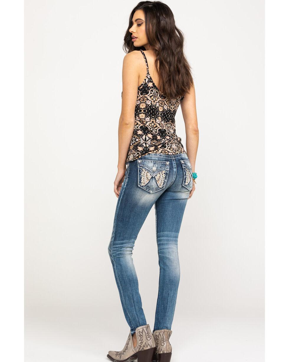 Miss Me Women's Butterfly Flap Pocket Skinny Jeans, Dark Blue, hi-res