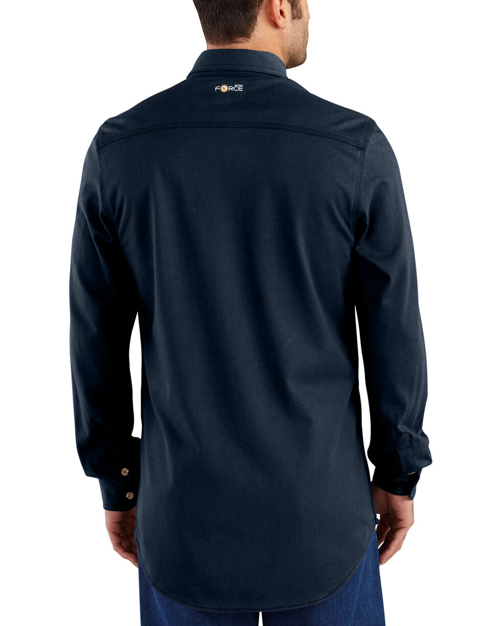 Carhartt Men's Navy Flame-Resistant Force Cotton Hybrid Shirt , Navy, hi-res