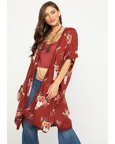 Angie Women's Steerhead & Rose Crochet Kimono, Rust Copper, hi-res