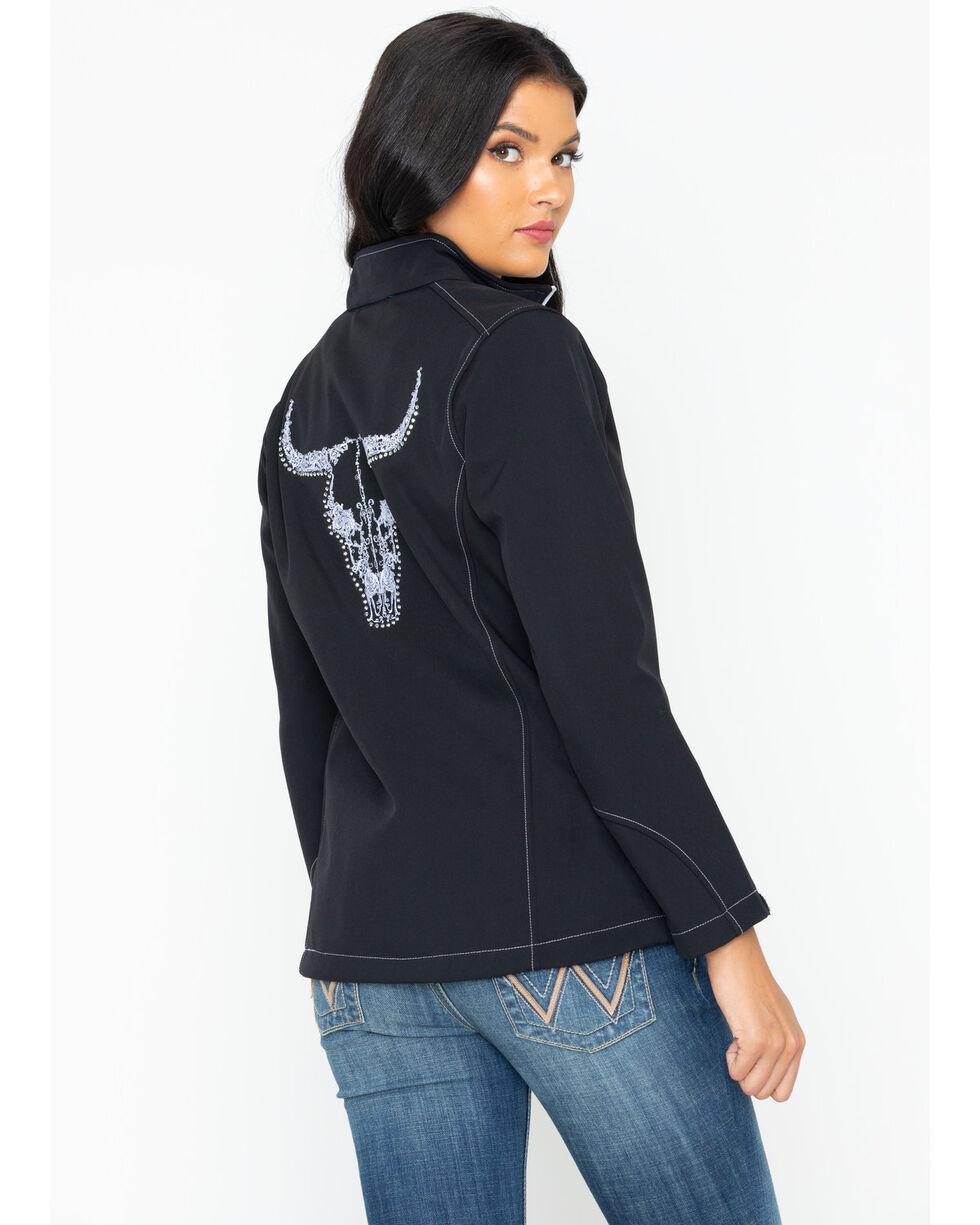 Cowboy Hardware Women's Vine Skull Poly Shell Jacket, Black, hi-res