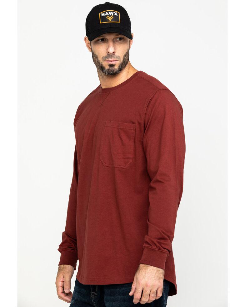 Hawx Men's Red Pocket Long Sleeve Work T-Shirt , Red, hi-res