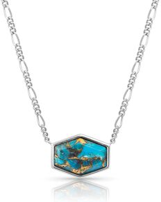 Montana Silversmiths Women's Sterling Lane Fearless Turquoise Signet Necklace, Turquoise, hi-res