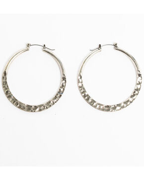 Shyanne Women's Sedona Spice Hammered Hoop Earrings, Silver, hi-res