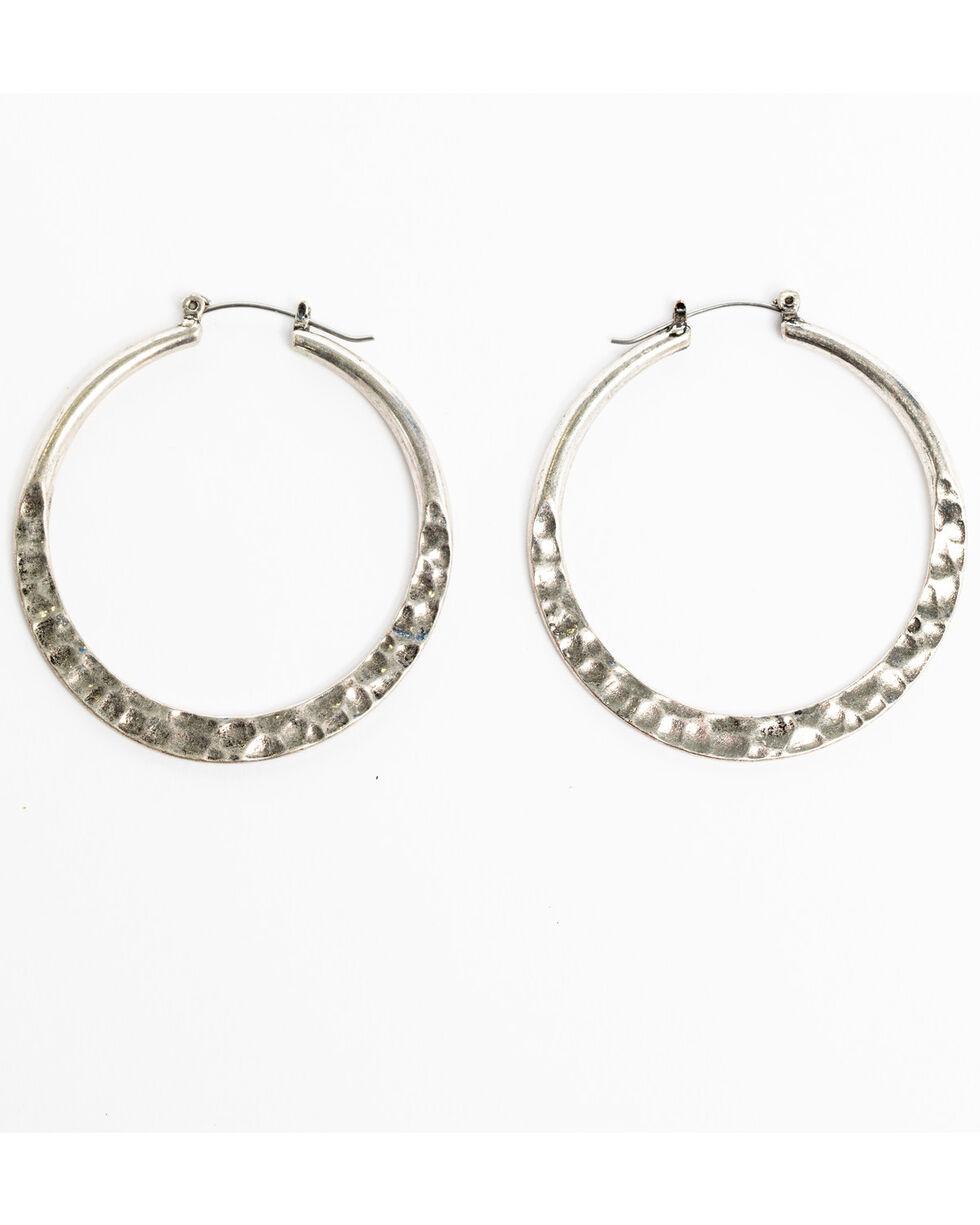 Shyanne Women's Sedona Spice Hammered Hoop Earrings, Silver, hi-res