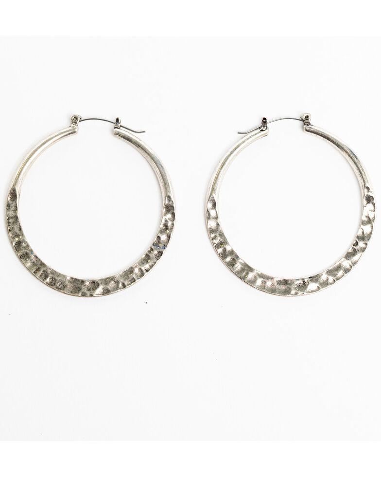Shyanne Women S Sedona E Hammered Hoop Earrings Silver Hi Res
