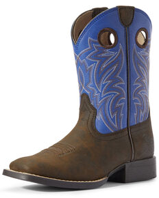 Ariat Boys' Catchem' Western Boots - Wide Square Toe, Brown, hi-res