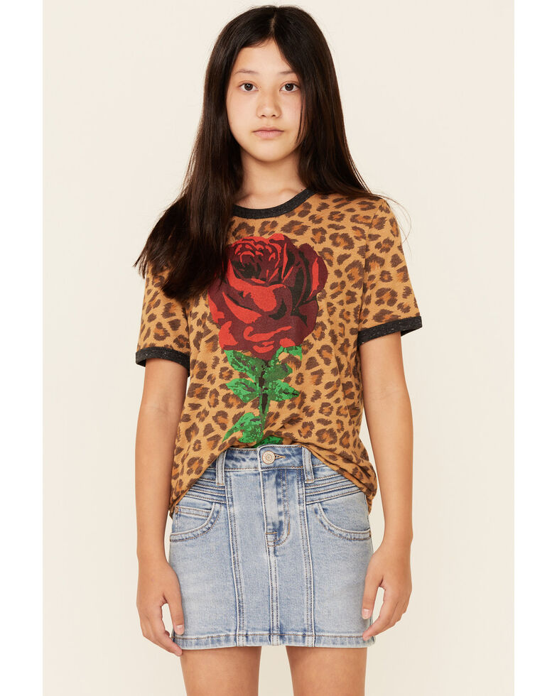 Rodeo Quincy Girls' Libby Longhorn Graphic Short Sleeve Ringer Tee, Cheetah, hi-res