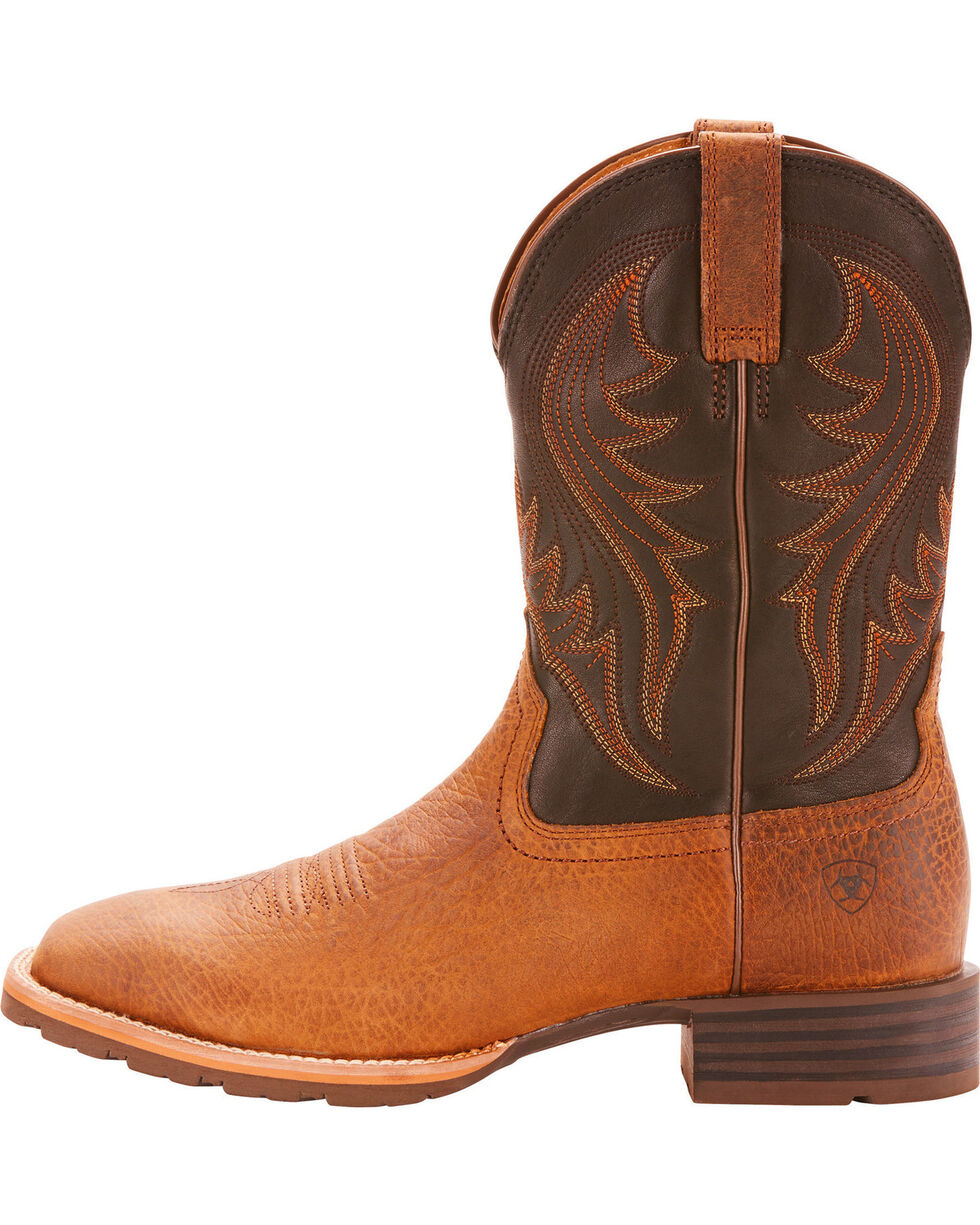 Ariat Men's Hybrid Ranch Earth Cowboy Boots - Square Toe, Tan, hi-res
