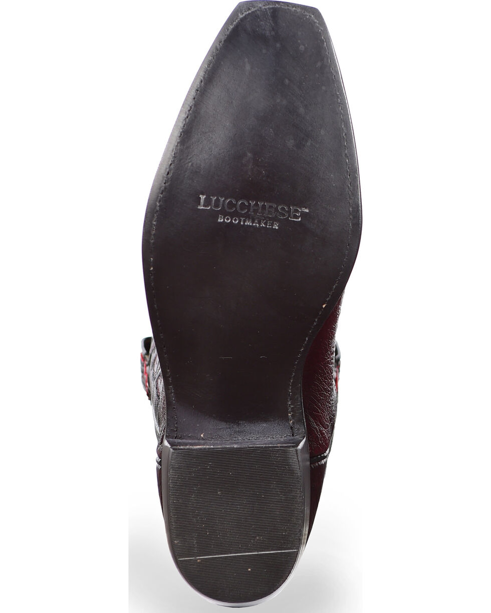 Lucchese Men's Handmade Black Cherry Nathan Smooth Ostrich Western Boots - Snip Toe , Black Cherry, hi-res