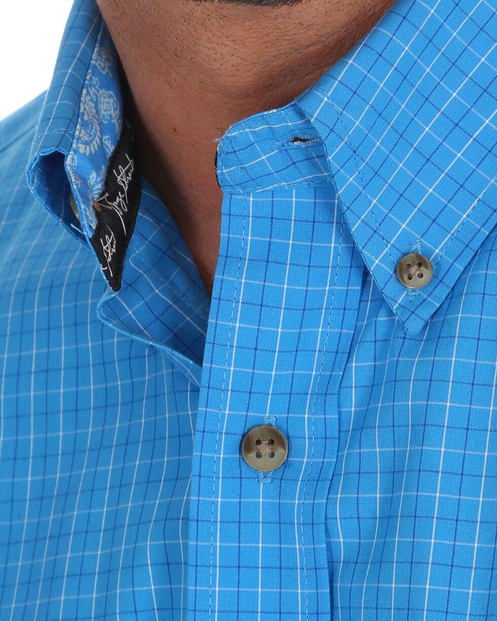George Strait by Wrangler Men's Blue Plaid Western Shirt , Blue, hi-res