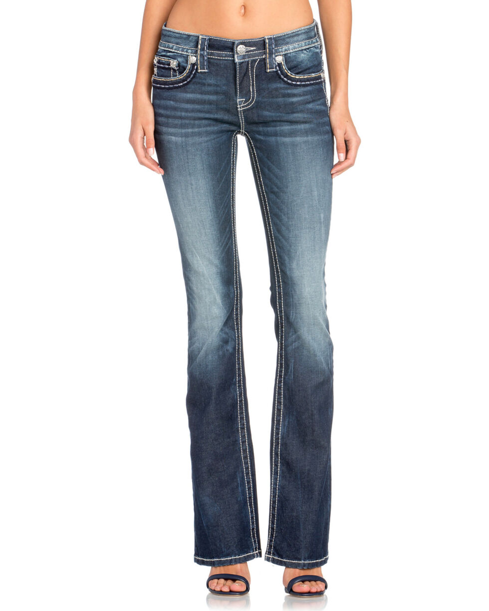 Miss Me Women's Classic Flap Pocket Boot Cut Jeans , Indigo, hi-res