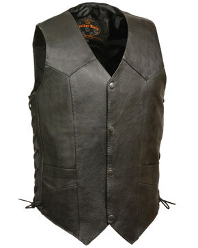 Milwaukee Leather Men's Black Classic Side Lace Biker Vest - Extra Big, Black, hi-res