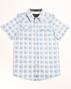 Cody James Boys' Crooks Cross Printed Plaid Short Sleeve Western Shirt , White, hi-res