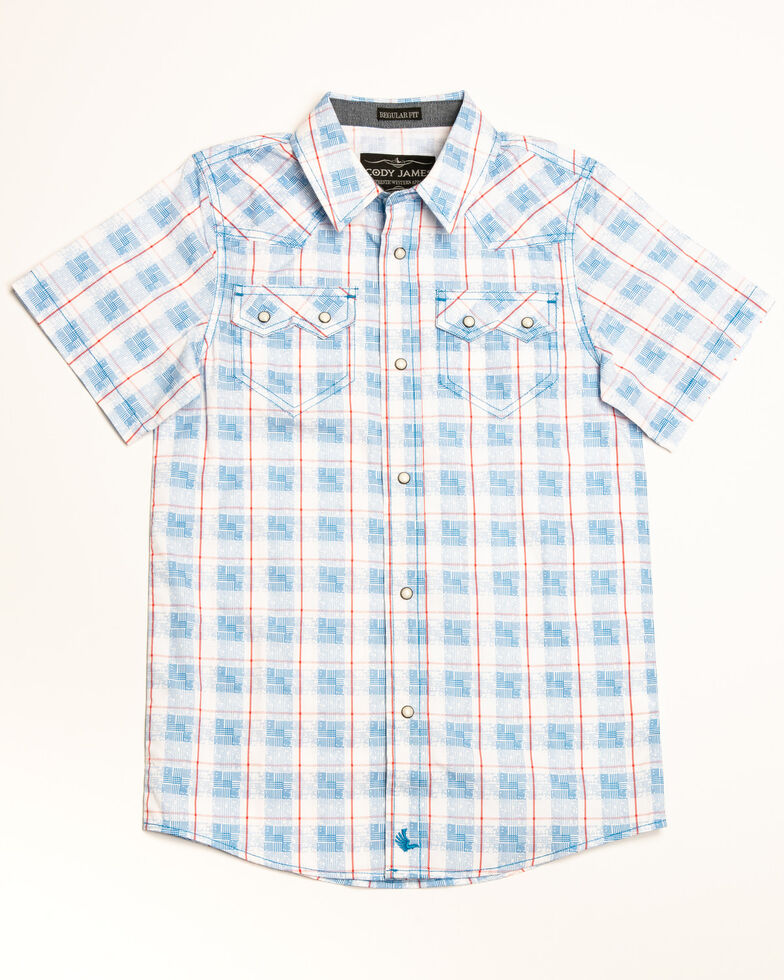 Cody James Boys' Crooks Cross Printed Plaid Short Sleeve Western Shirt , White, hi-res