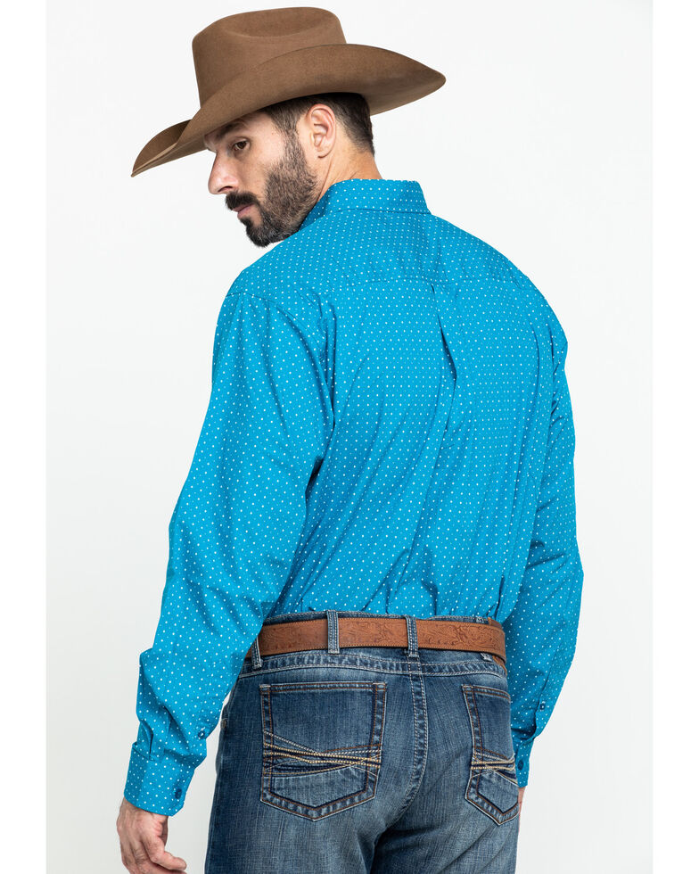 Cinch Men's Turquoise Star Geo Print Long Sleeve Western Shirt  , Turquoise, hi-res
