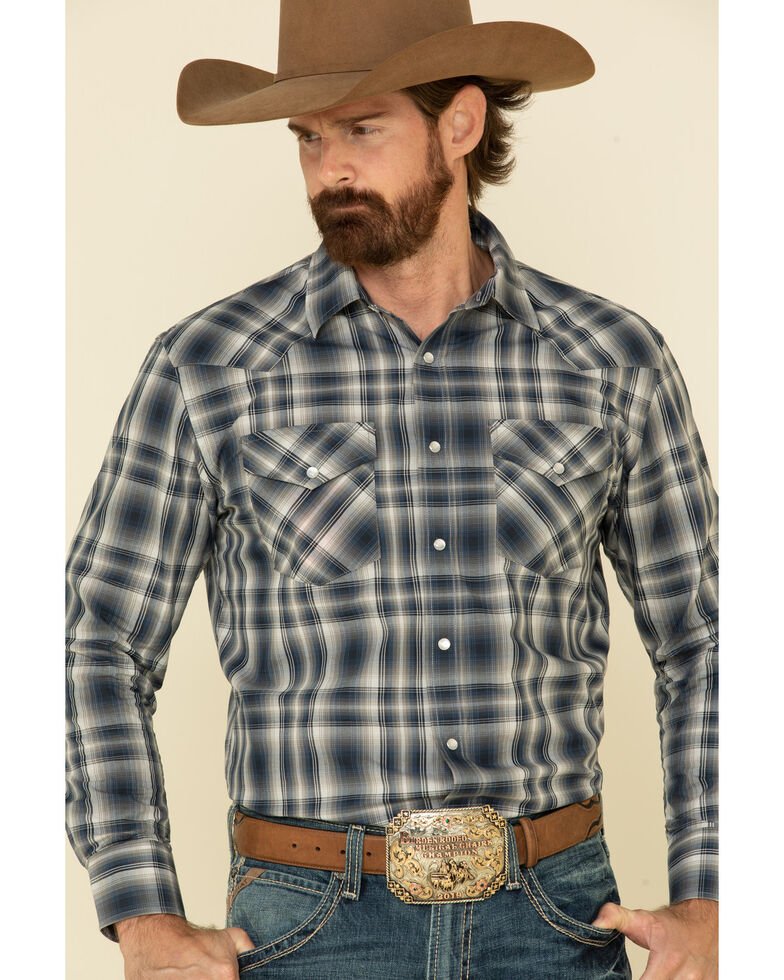 Pendleton Men's Navy Frontier Ombre Plaid Long Sleeve Western Shirt , Navy, hi-res