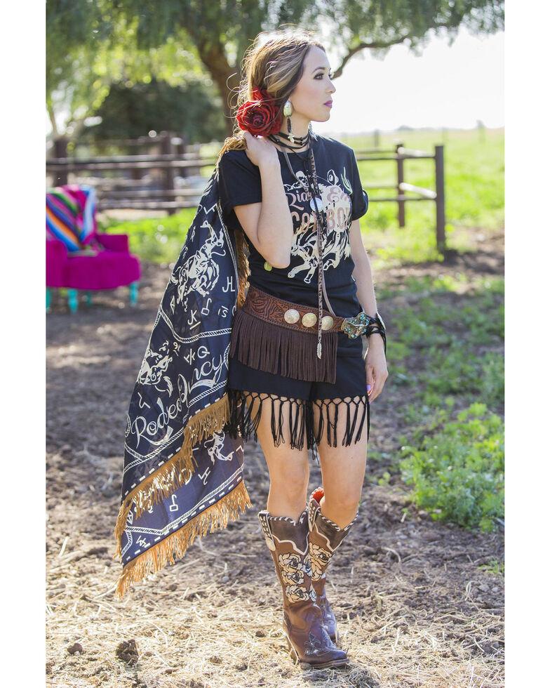 Rodeo Quincy Women's Brands & Bronc Wild Rag Scarf, Black, hi-res