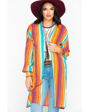 Rock & Roll Cowgirl Women's Serape Print Long Duster, Multi, hi-res
