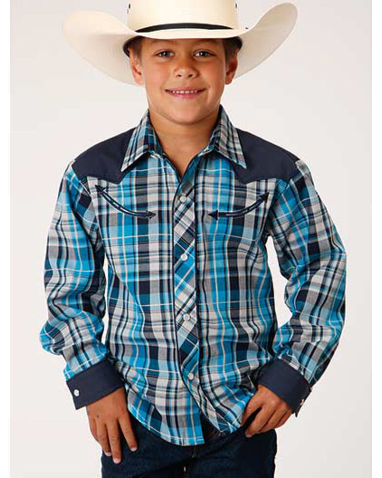 Roper Boys' Classic Blue Retro Plaid Fancy Yoke Long Sleeve Western Shirt , Blue, hi-res
