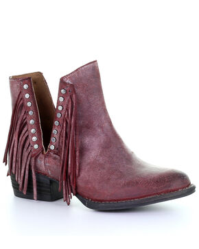 Circle G Women's Wine Studded Fringe Booties - Round Toe, Wine, hi-res