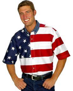 Roper Men's Short Sleeve American Flag Western Shirt, White, hi-res