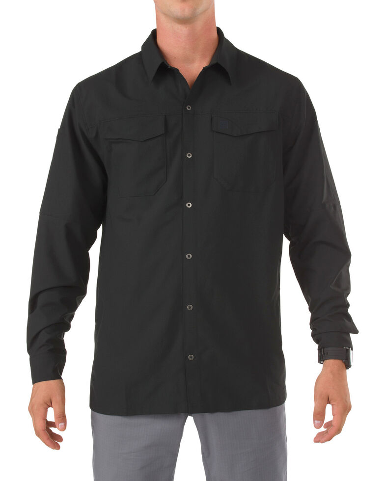 5.11 Tactical Freedom Flex Woven Long Sleeve Shirt, Black, hi-res