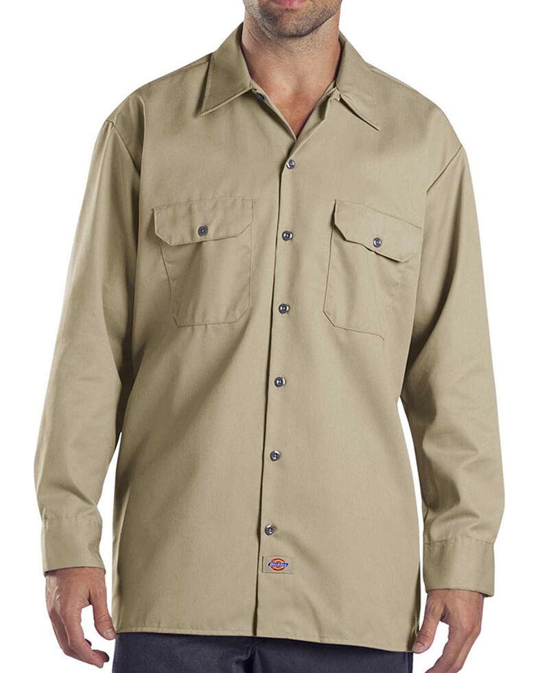 Dickies Long Sleeve Work Shirt - FOLDED, Khaki, hi-res