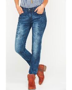 Grace in LA Women's Embroidered Step Jeans - Skinny , Indigo, hi-res