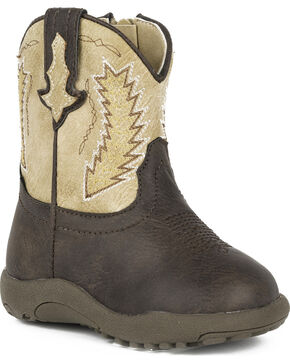 Roper Infant Boys' Cowbaby Billy Pre-Walker Cowboy Boots - Round Toe, Brown, hi-res
