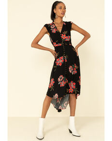 Shyanne Women's Black Floral Button Front Maxi Dress , Black, hi-res