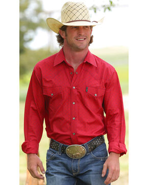 Cinch Men's Red Modern Fit Plain Weave Western Long Sleeve Shirt , Red, hi-res