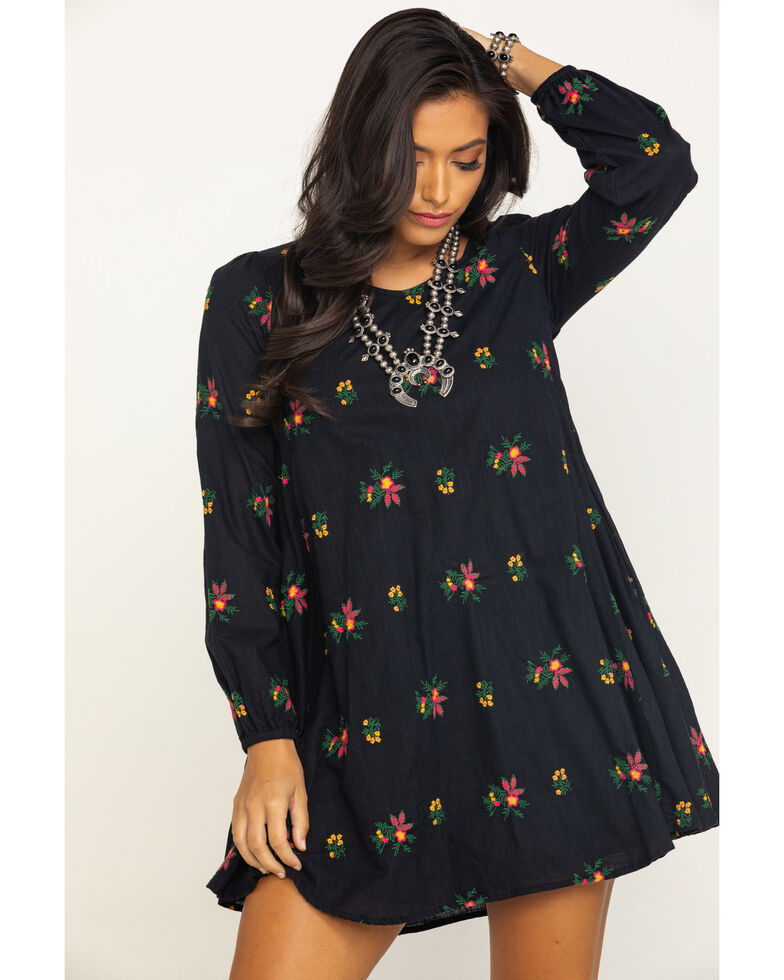 Rock & Roll Cowgirl Women's Floral Embroidered Keyhole Dress, Black, hi-res