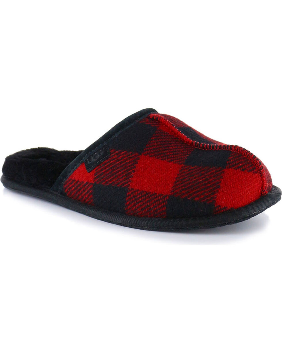 UGG® Men's Scuff Plaid Slippers, Red, hi-res