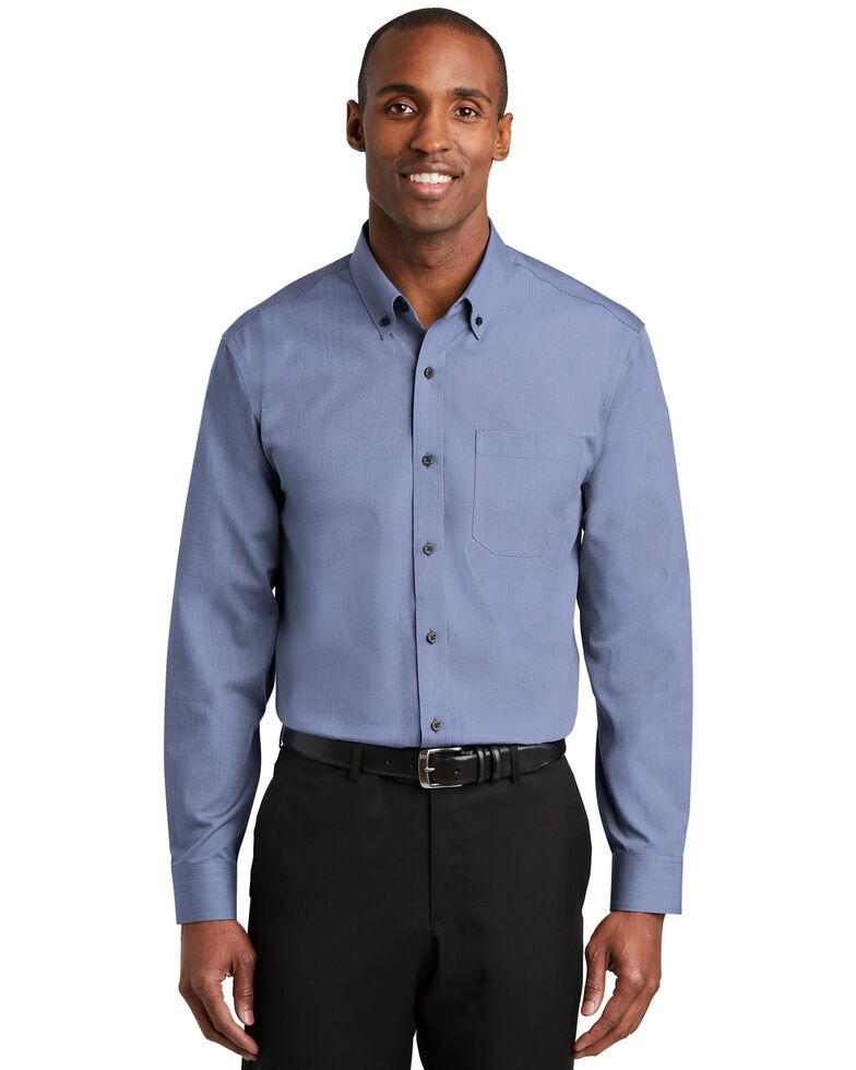 Red House Men's Navy 3X Nailhead Non-Iron Long Sleeve Work Shirt - Big & Tall, Navy, hi-res