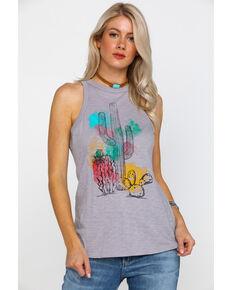 Rock & Roll Cowgirl Women's Cactus Watercolor Graphic Tank, Grey, hi-res