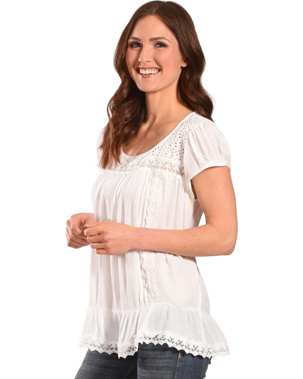 Bila Women's White Eyelet Short Sleeve Blouse , White, hi-res